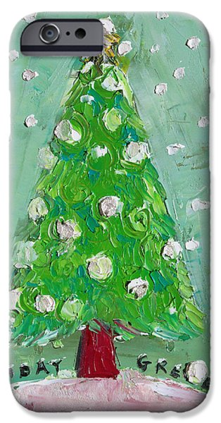 Holiday Greeting iPhone Case by Becky Kim