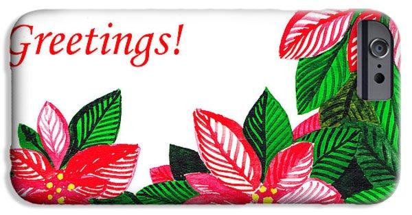 Christmas iPhone Cases - Holiday Greetings iPhone Case by Irina Sztukowski