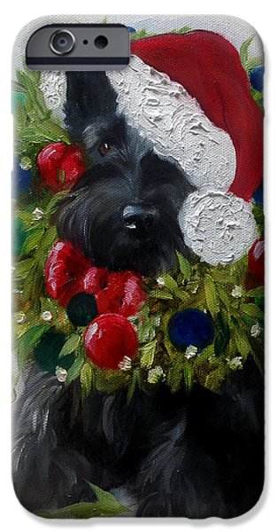 Scottish Terrier Art iPhone Cases - Holiday iPhone Case by Mary Sparrow