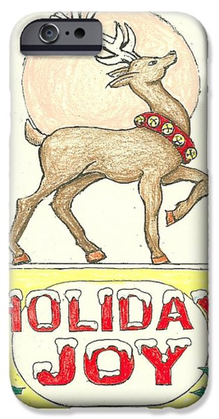 Christmas Eve Drawings iPhone Cases - Holiday Joy iPhone Case by Ralf Schulze