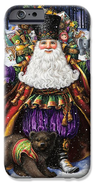 Santa Paintings iPhone Cases - Holiday Riches iPhone Case by Lynn Bywaters