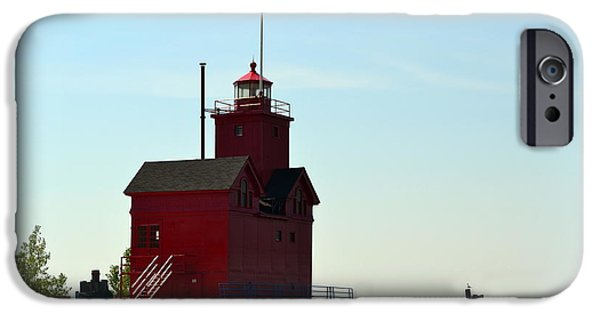 Michelle iPhone Cases - Holland Harbor Light Vignette iPhone Case by Michelle Calkins