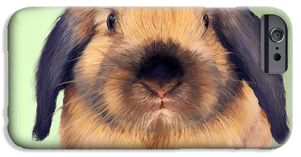 Holland Paintings iPhone Cases - Holland Lop iPhone Case by Enzie Shahmiri