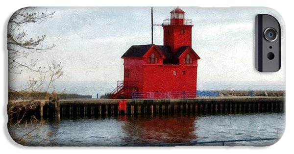 Michelle iPhone Cases - Holland Michigan Channel and Lighthouse iPhone Case by Michelle Calkins