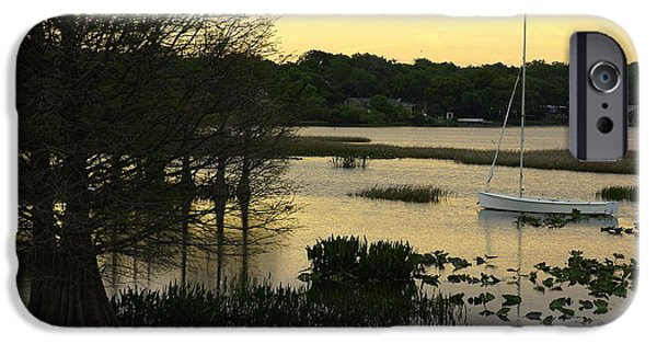 Sailboat iPhone Cases - Hollingsworth Sunset iPhone Case by Laurie Perry