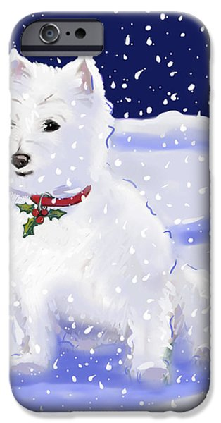 Westie Digital iPhone Cases - Holly iPhone Case by Jean Pacheco Ravinski