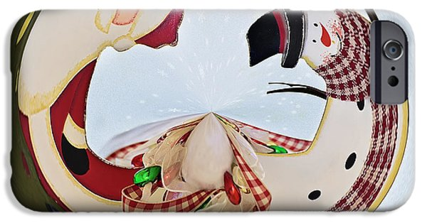 Abstract Digital Art iPhone Cases - Holly Jolly Orb iPhone Case by Kim Hojnacki