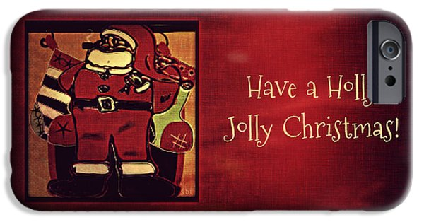 Christmas Eve Drawings iPhone Cases - Holly Jolly Santa  iPhone Case by Sherry Flaker