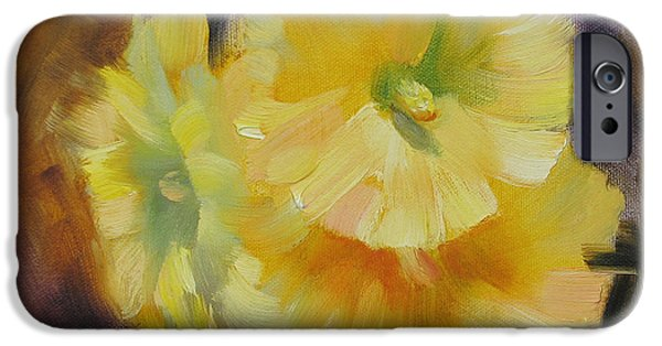 Hollyhock iPhone Cases - Hollyhock Blooms iPhone Case by Karin  Leonard