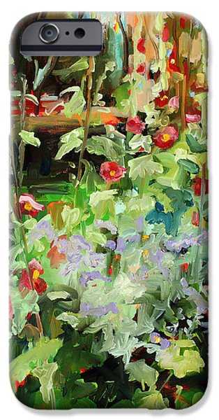 Hollyhock iPhone Cases - Hollyhock Sundance iPhone Case by Marie Massey