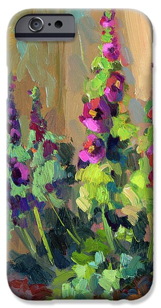 Lilac iPhone Cases - Hollyhocks at Giverny iPhone Case by Diane McClary