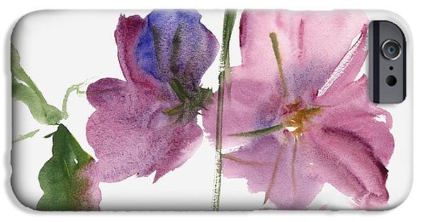 Hollyhock iPhone Cases - Hollyhocks iPhone Case by Claudia Hutchins-Puechavy