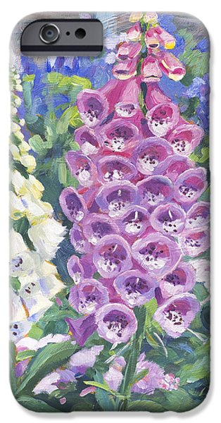 Hollyhock iPhone Cases - Foxglove iPhone Case by David Lloyd Glover