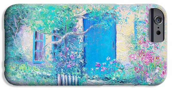 Garden Scene Paintings iPhone Cases - Hollyhocks garden iPhone Case by Jan Matson