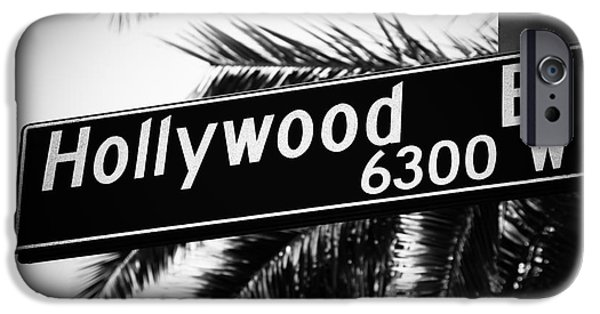 2012 iPhone Cases - Hollywood Boulevard Street Sign in Black and White iPhone Case by Paul Velgos