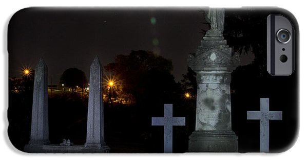 Final Resting Place iPhone Cases - Hollywood Cemetery Moon Burst iPhone Case by Jemmy Archer