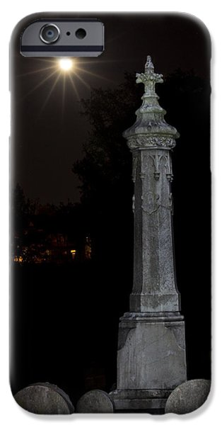 Final Resting Place iPhone Cases - Hollywood Cemetery Moon Rise iPhone Case by Jemmy Archer