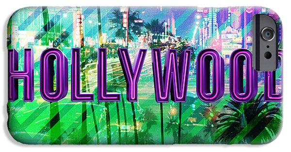 Beach iPhone Cases - Hollywood day and night iPhone Case by Gina Dsgn