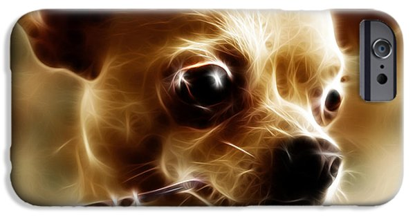 Fuzzy Digital iPhone Cases - Hollywood Fifi Chika Chihuahua - Electric Art - With Text iPhone Case by Wingsdomain Art and Photography