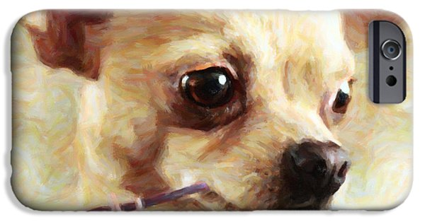 Puppy Digital Art iPhone Cases - Hollywood Fifi Chika Chihuahua - Painterly iPhone Case by Wingsdomain Art and Photography