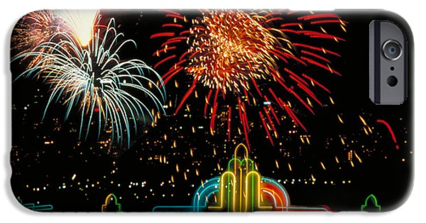 4th July Photographs iPhone Cases - Hollywood Fireworks iPhone Case by Carroll Seghers II