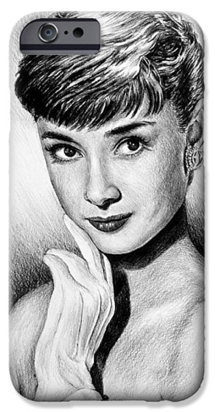 1950s Movies iPhone Cases - Hollywood Greats Hepburn iPhone Case by Andrew Read