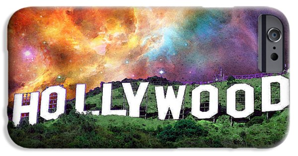 Big Screen iPhone Cases - Hollywood - Home of the Stars by Sharon Cummings iPhone Case by Sharon Cummings