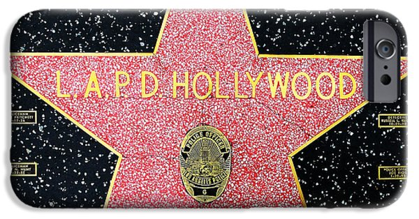 Police iPhone Cases - Hollywood Walk of Fame LAPD Hollywood 5D28920 iPhone Case by Wingsdomain Art and Photography