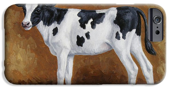 Domestic Animal iPhone Cases - Holstein Calf iPhone Case by Crista Forest