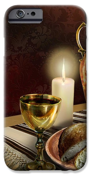 Wine Canvas Paintings iPhone Cases - Jewish table setting with bread and wine iPhone Case by Gina Femrite
