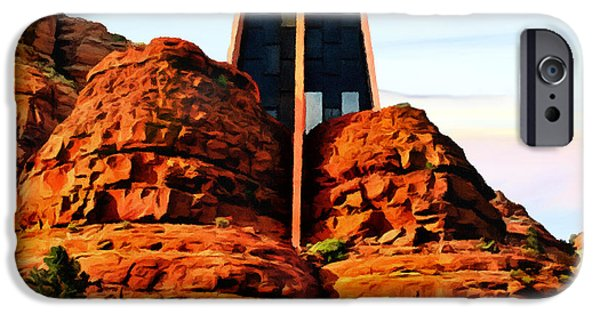 Cathedral Rock iPhone Cases - Chapel of the Holy Cross or Red Rock Chapel Sedona Arizona iPhone Case by  Bob and Nadine Johnston