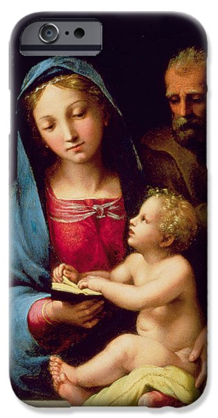 Baby Jesus iPhone Cases - Holy Family iPhone Case by Giulio Romano