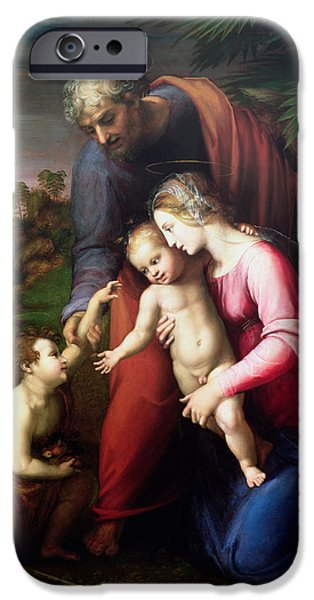 Renaissance iPhone Cases - Holy Family With John The Baptist, 151314 iPhone Case by Sanzio of Urbino Raphael
