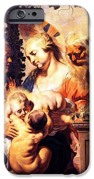 St Elizabeth iPhone Cases - Holy Family With St. Elizabeth iPhone Case by Munir Alawi
