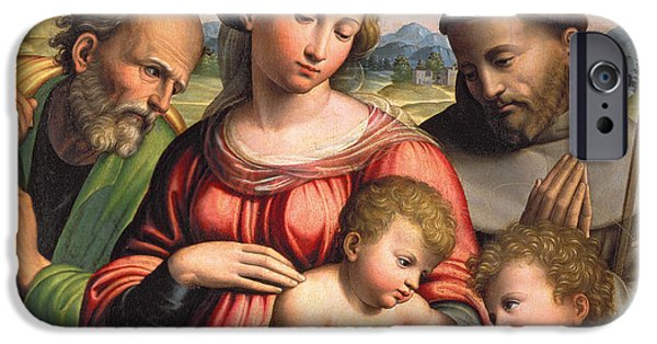 Baptist Paintings iPhone Cases - Holy Family with the Infant St. John the Baptist and St. Francis iPhone Case by Innocenzo da Imola