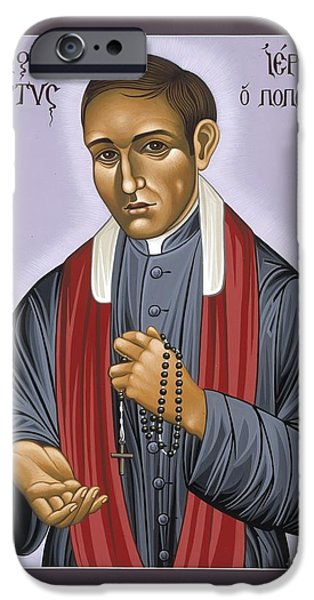 New Martyr iPhone Cases - Holy New Martyr Father Jerzy Popieluszko 030 iPhone Case by William Hart McNichols