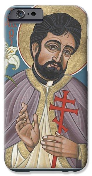 New Martyr iPhone Cases - Holy New Martyr Father John Karastamatis of Santa Cruz 216 iPhone Case by William Hart McNichols