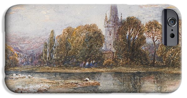 Exploring Paintings iPhone Cases - Holy Trinity Church on the banks if the River Avon Stratford upon Avon iPhone Case by Myles Birket Foster