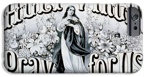 Mother Mary Digital Art iPhone Cases - Holy Virgin Pray For Us iPhone Case by Digital Reproductions