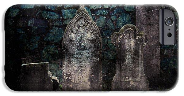 Headstones iPhone Cases - Holyhood Cemetery Stones iPhone Case by Sonja Quintero