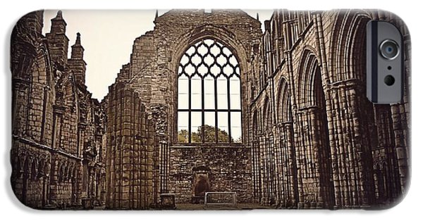 Ruins Pyrography iPhone Cases - Holyrood Abbey iPhone Case by Miryam  UrZa