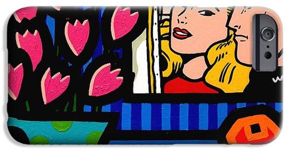 Happy Posters iPhone Cases - Homage To Lichtenstein iPhone Case by John  Nolan