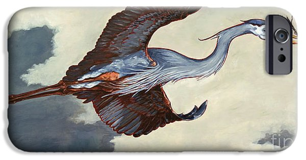 Soaring Paintings iPhone Cases - Home Bound Heron iPhone Case by Eve McCauley