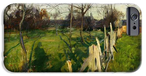 Fall Scenes iPhone Cases - Home Fields iPhone Case by John Singer Sargent