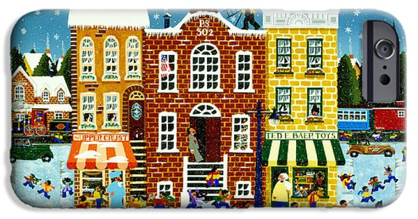 Store Fronts Paintings iPhone Cases - Home For the Holidays iPhone Case by Merry  Kohn Buvia