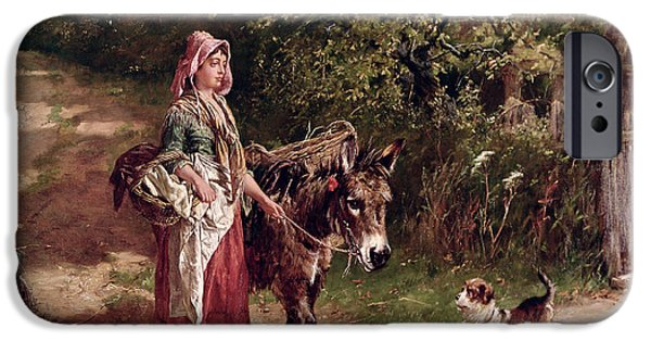 Young Paintings iPhone Cases - Home from Market iPhone Case by Edgar Bundy