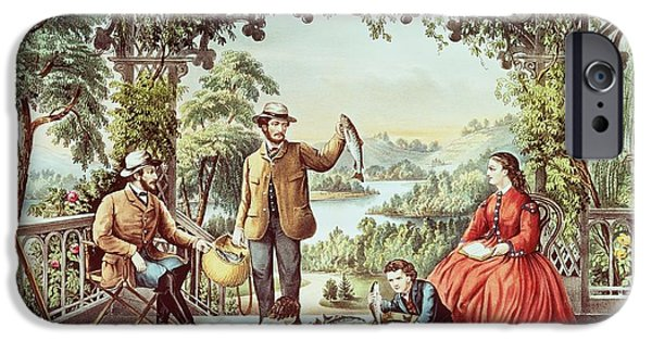 Nineteenth iPhone Cases - Home from the Brook The Lucky Fisherman iPhone Case by Currier and Ives