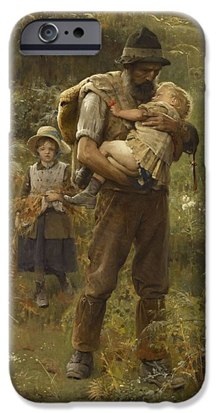 Little Girl iPhone Cases - Home From The Fields iPhone Case by Arthur Hacker