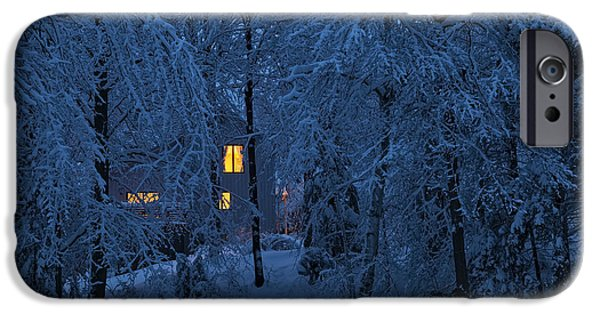 Snowy Night iPhone Cases - Home In Snowy Woods iPhone Case by Alan L Graham