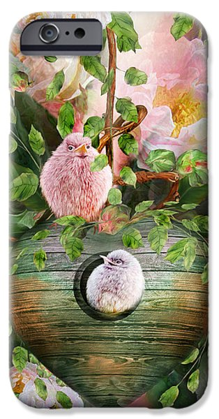 Baby Bird Mixed Media iPhone Cases - Home In The Roses iPhone Case by Carol Cavalaris